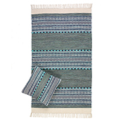 Multistripe Blue & Green Kilim Rugs