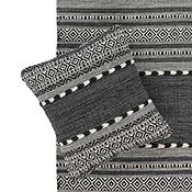multistripe black & natural kilim rugs