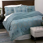 Block Print Mandala Bedding - Slate Blue - Queen Duvet Cover