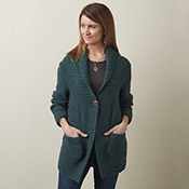 Shawl-Collar Cardigan - Teal