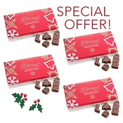 4 Milk Chocolate Christmas Shape Boxes