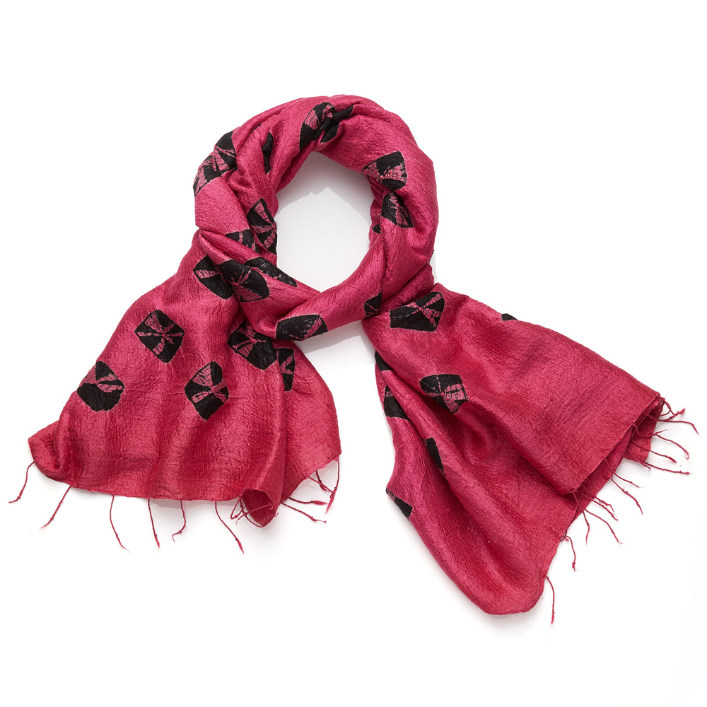 Raw Silk Medallion Scarf - Fuchsia