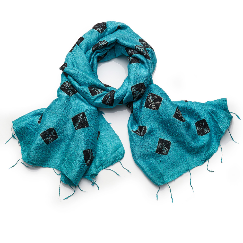 Raw Silk Medallion Scarf - Turquoise