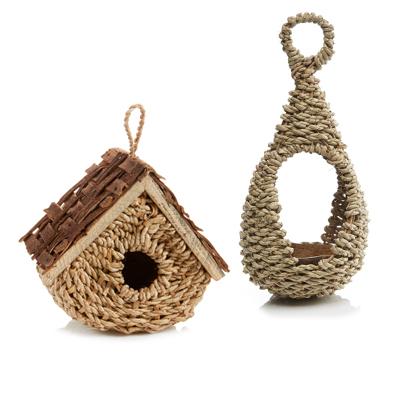 Basket Birdhouse and Rustic Bird Feeder Offer