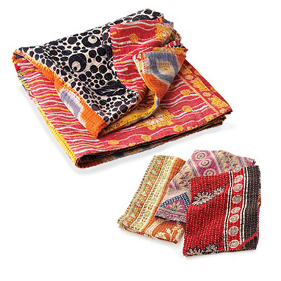 Rainbow Square Kantha Throw & Dish Towel Offer