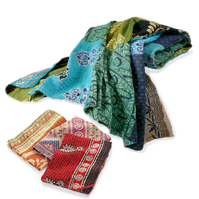 Cool Square Kantha Throw & Dish Towel Offer