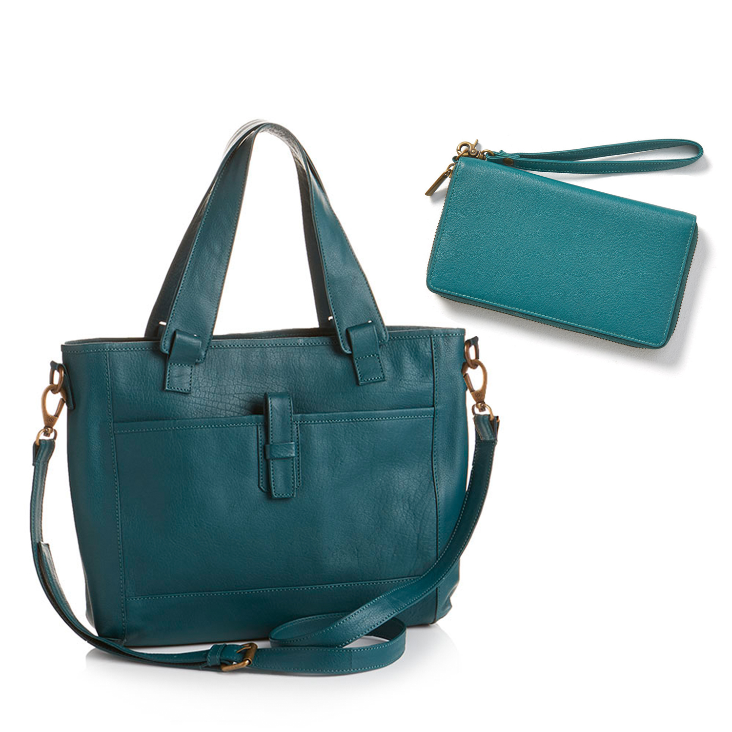 Teal All-for-One Leather Bag & Wallet Offer