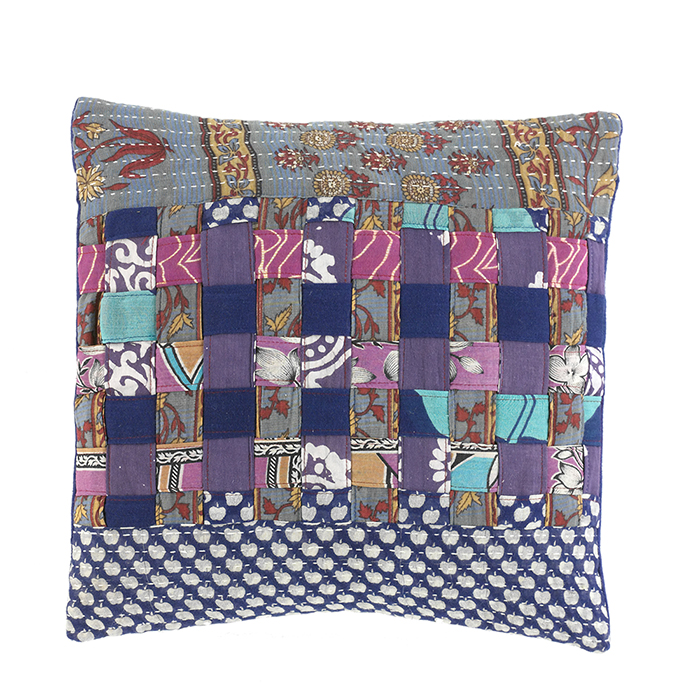 Cool Tones Kantha Basketweave Pillow