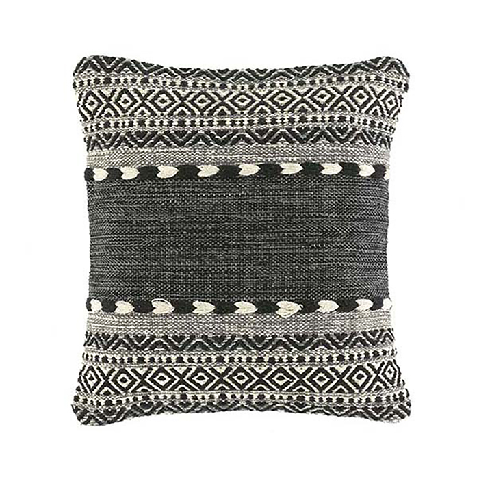 Kilim Square Pillow - Black & Natural