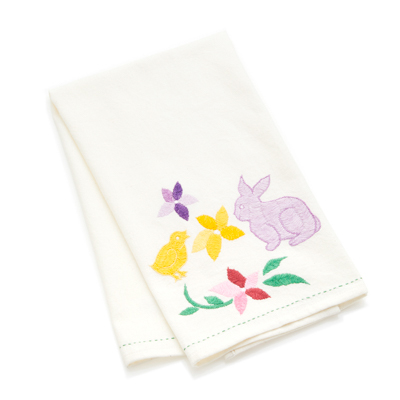 Embroidered Easter Tea Towel