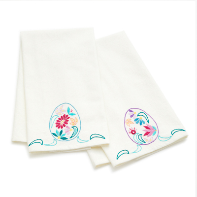 Embroidered Floral Egg Tea Towels Set