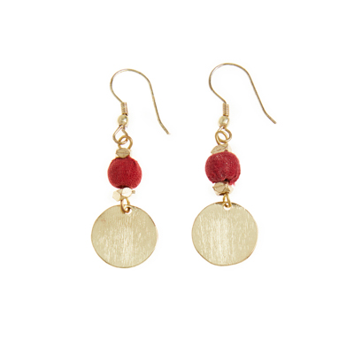 Red Sari Bead & Brass Earrings