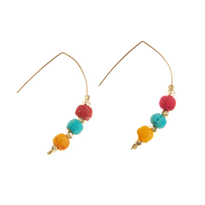 Triple Sari Bead Earrings