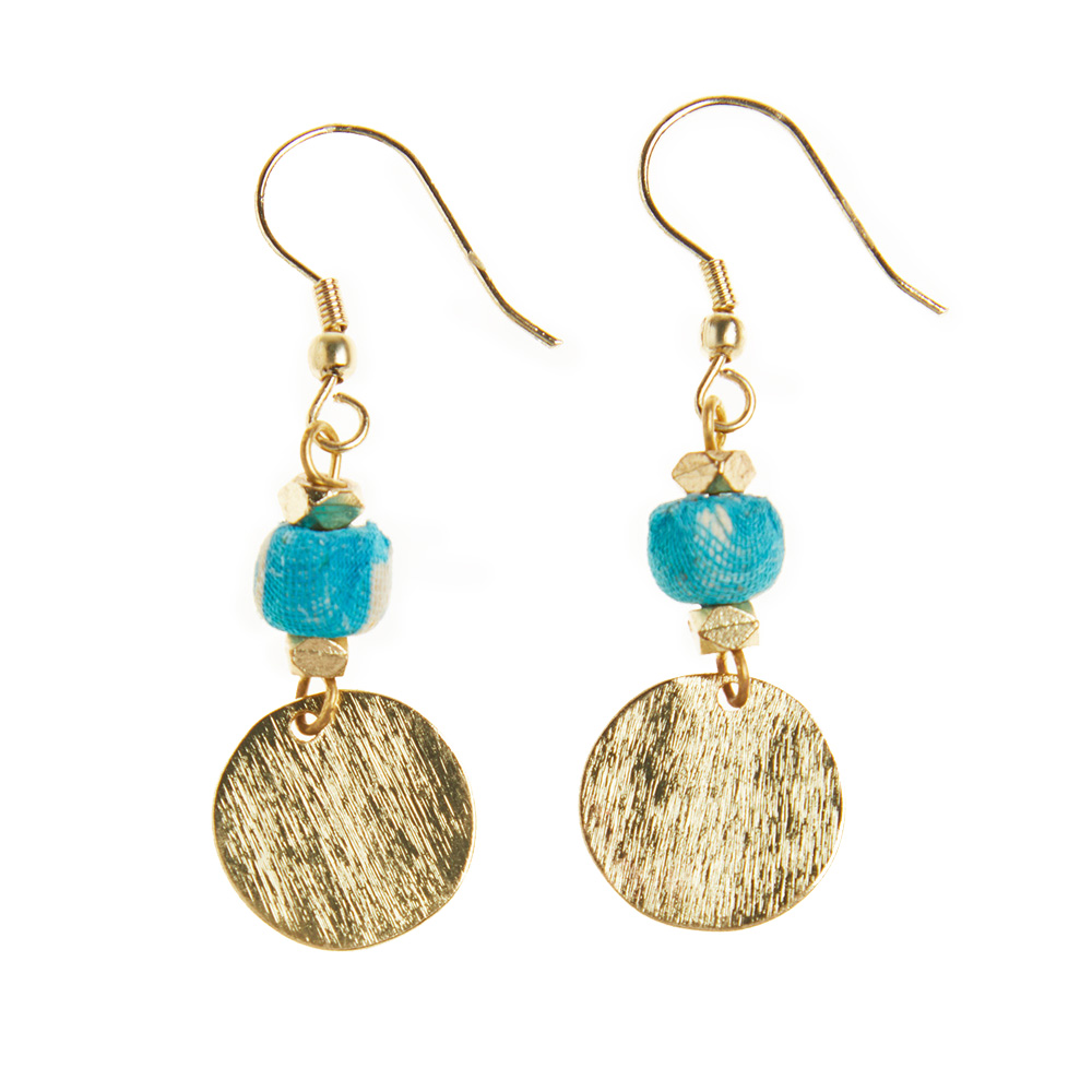 Blue Sari Bead & Brass Earrings