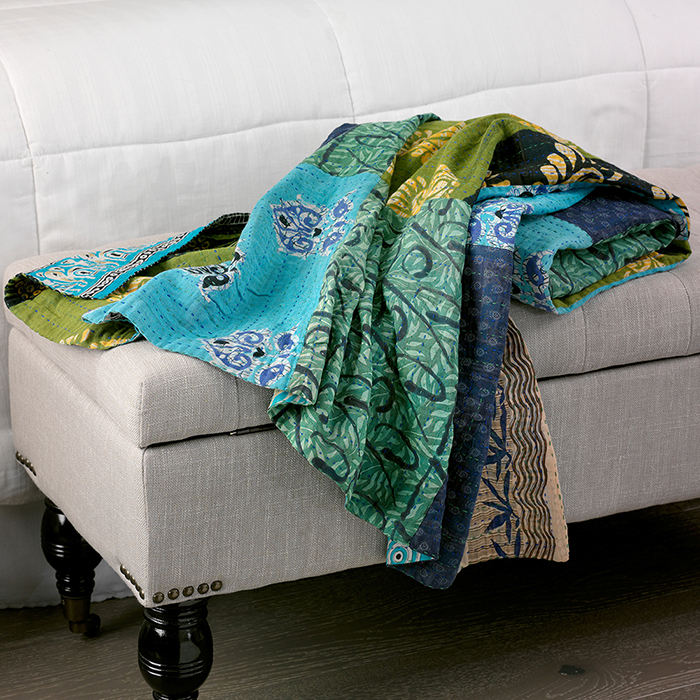 Blue-Green Kantha Throw