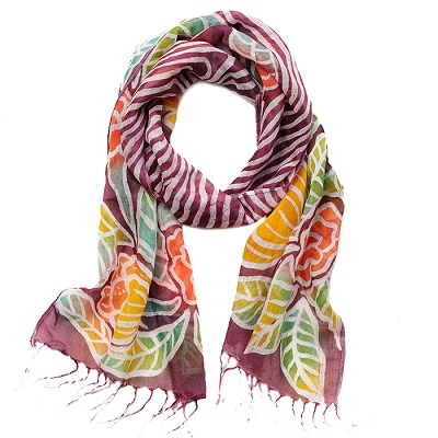 Painted Floral Scarf - Plum