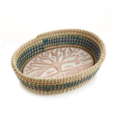 Tree of Life Breadwarmer in Blue Detail Basket