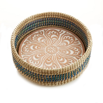 Kolka Breadwarmer in Blue Detail Basket