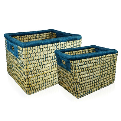 Dark Teal Threaded Basket (XL) Set of 2