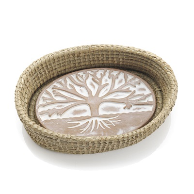 Tree of Life Breadwarmer in Natural Basket