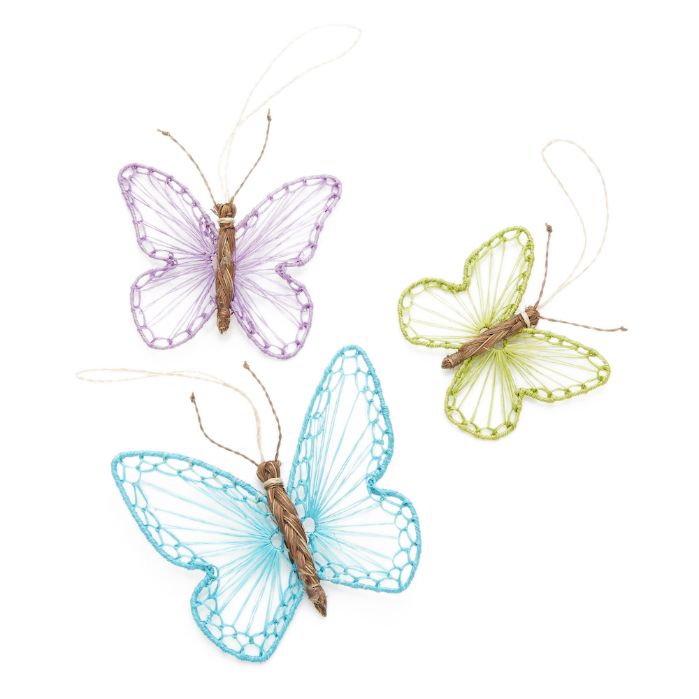 Abaca Butterflies Ornament Set