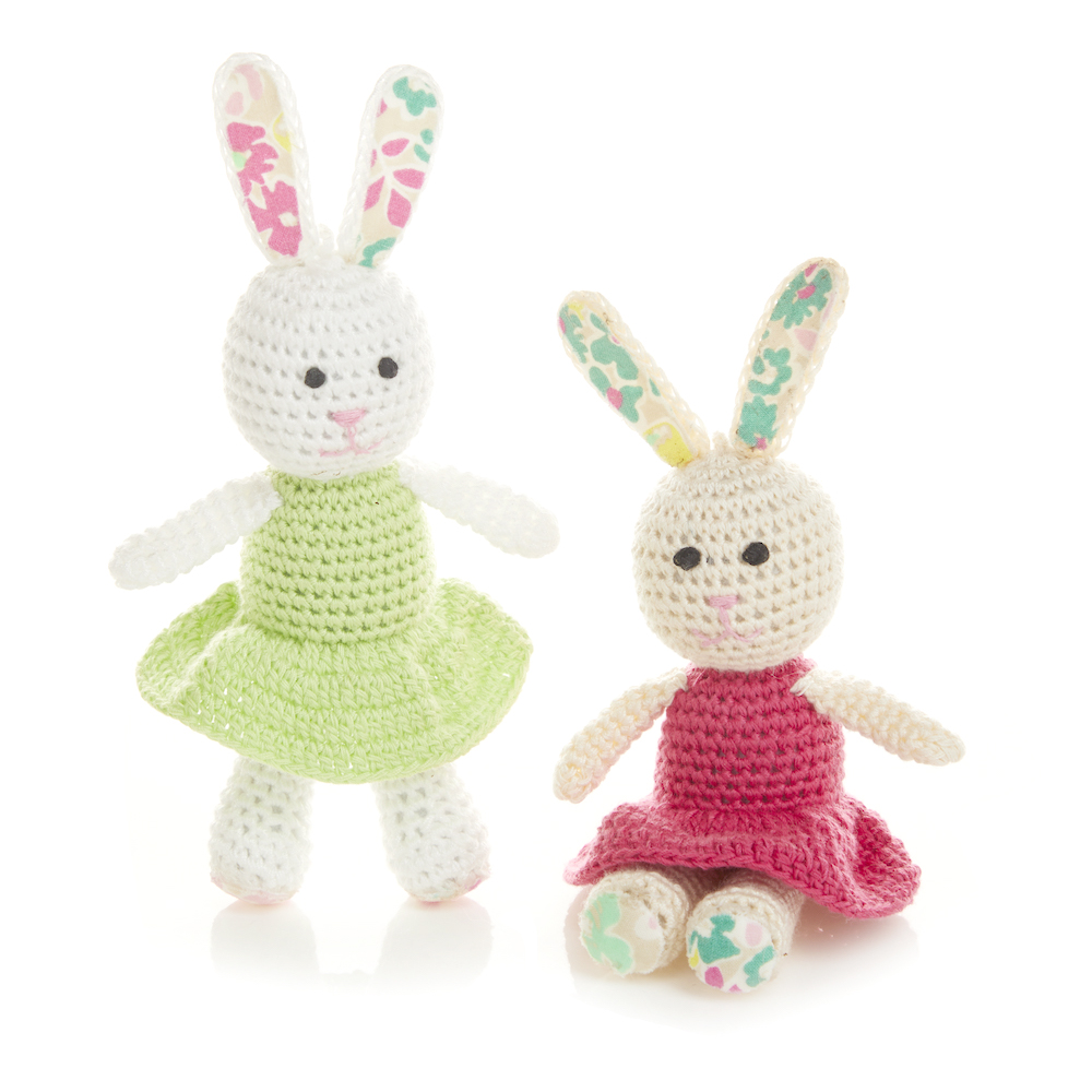 Crocheted Bunny Sisters