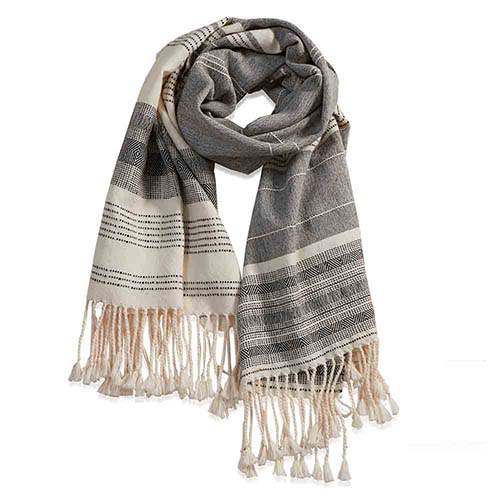 Peruvian Alpaca Wrap - Cream/Gray Stripe