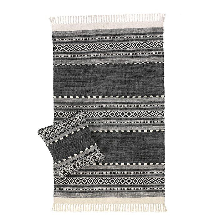 Multistripe Black & Natural Kilim Rugs