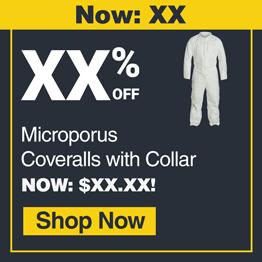 COVERALL, MICROPOROUS, COLLAR, WHITE, 3XL, 25/CASE
