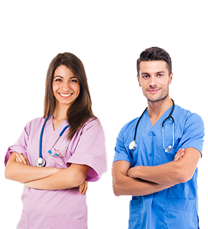 Man and Woman Wearing Scrubs