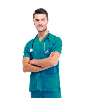 Man wearing scrubs
