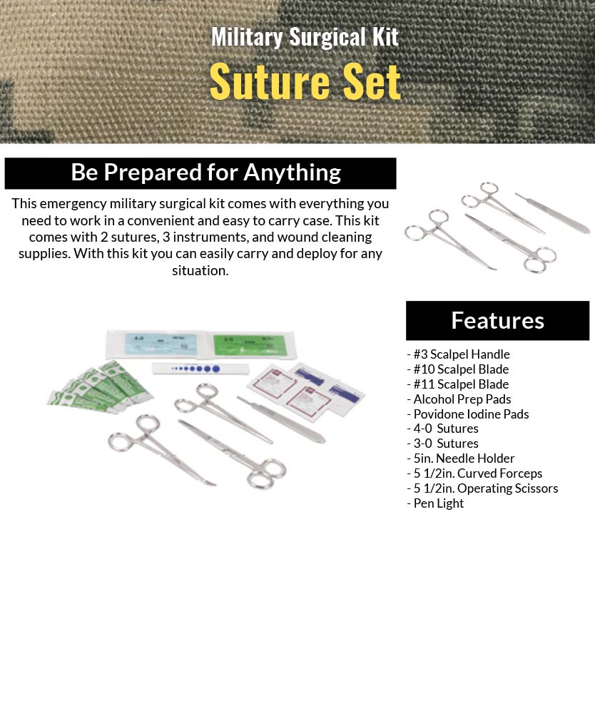 Military Surgical Kit- Suture Set Features