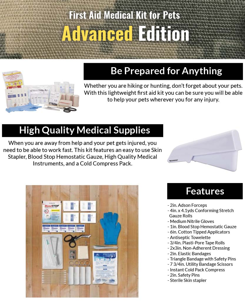 38-piece First Aid Medical Kit for Pets - Advanced Edition Features
