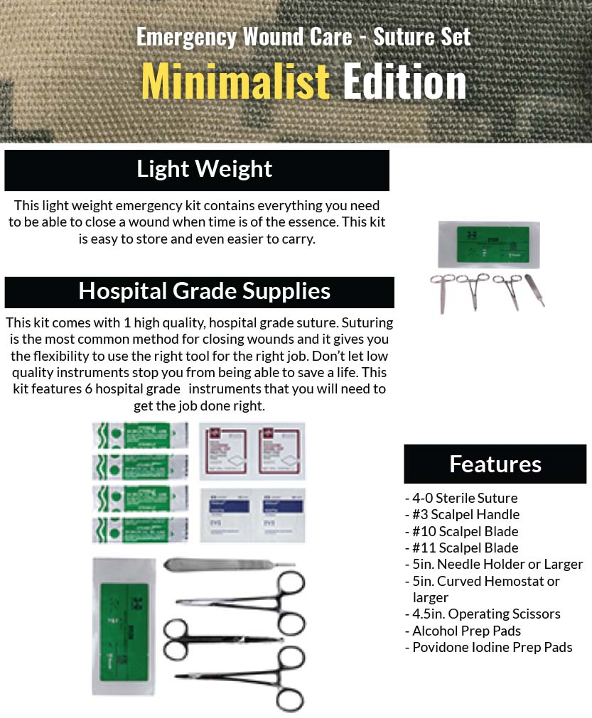 14 piece Emergency Wound Care Suture Kit - Minimalist Edition Features