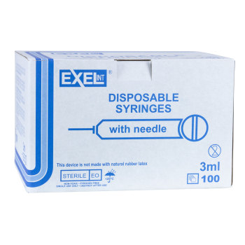 SYRINGE,3CC 22 X 3/4, LS, 100/BOX, EXEL