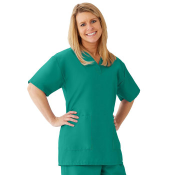 TOP,SCRUB,LADIES,V-NECK,2PKT,EMERALD,SM,EA