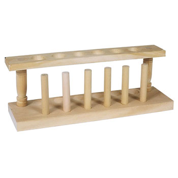 WOODEN TEST TUBE RACK, 6 PLACE,EA