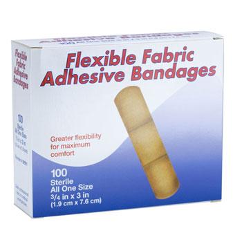 "BANDAGE,PLASTIC,ADHESIVE,3/4"" X 3"",PLASTIC, 100/BX"