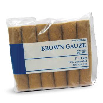 "GAUZE,BROWN,3"" X 5YDS 12/BG"