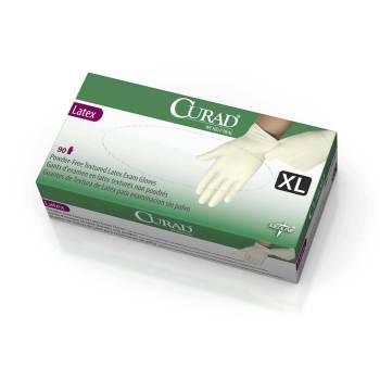 GLOVE,EXAM,LATEX,CURAD,PF,XL,90 EA/BX