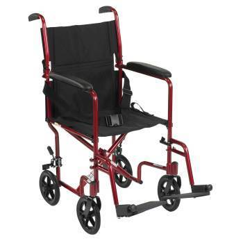WHEELCHAIR,TRANSPORT,LIGHT WEIGHT,RED,19IN