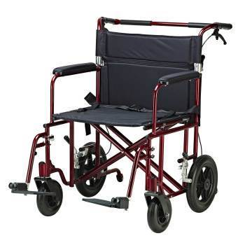 CHAIR,TRANSPORT,BARIATRIC,FLAT FREE WHEELS,RED,22IN