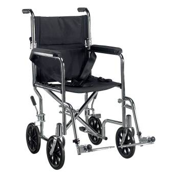 WHEELCHAIR,TRANSPORT,LIGHT WEIGHT,CHROME,19IN