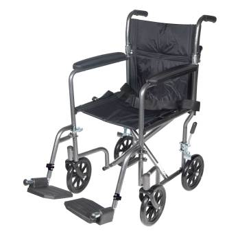 WHEELCHAIR,TRANSPORT,LIGHT WEIGHT,SILVER,17IN