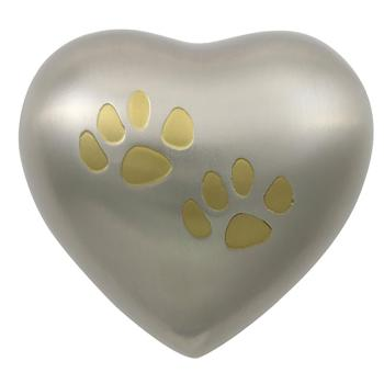 Urn,Pewter/Brass double paw heart urn