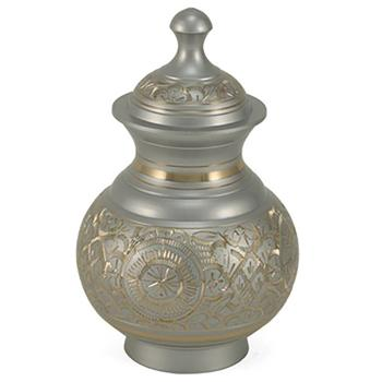 Urn,Silver engraved urn-extra small