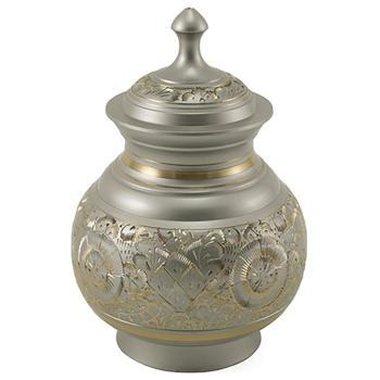 Urn,Silver engraved urn-medium