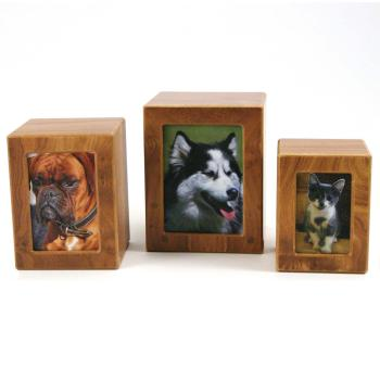Urn,Birch finish MDF photo box urn, medium