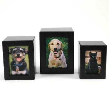 Urn,Black finish MDF photo box urn, large