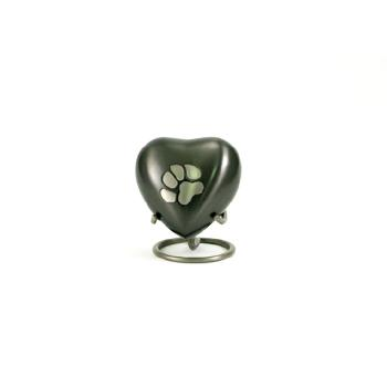 Urn,Slate/Pewter single paw heart urn